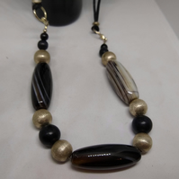 Semi Precious Stone and Metallic Bead Necklace - Threaded on adjustable Cord