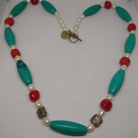Turquoise and Red Coral Necklace - Genuine Quality Stones -Truly Beautiful