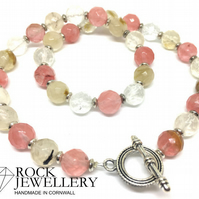 Watermelon Tourmaline Pink Rubellite 10mm Faceted Beaded Gemstone Necklace