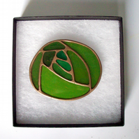 Green Art Nouveau Mackintosh Brooch