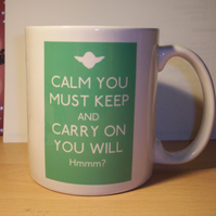 Star Wars themed Yoda Keep Calm and Carry on mug