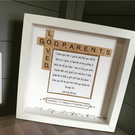 Loved Godparents Handmade Personalised Scrabble Frame Godmother Godfather Made t