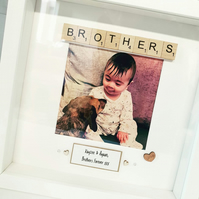 Handmade Personalised Brothers Frame Brother Sibling Scrabble Photo Frame