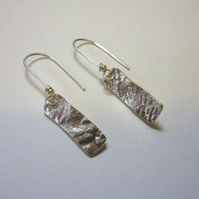 Silver rectangular drop earrings