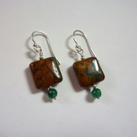 Rainbow agate and aventurine earrings