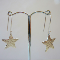 Hammered Sterling Silver Star Earrings