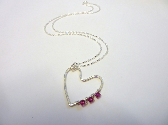 Hammered Silver Heart Pendant Wire Wrapped With Pink Swarovski Crystals