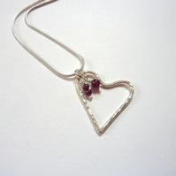 Heart Pendant With Garnet Charms