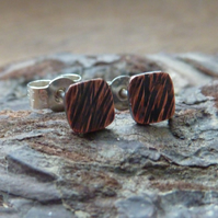 Square Bark Effect Copper Stud Earrings
