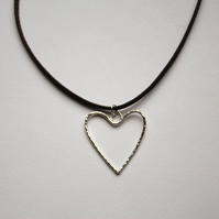 Hammered Silver Heart Pendant On Brown Leather Necklet