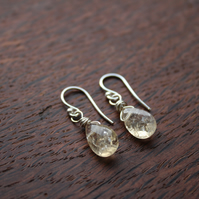 Silver Wire Wrapped Faceted Citrine Briolette Drop Earrings