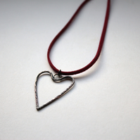 Oxidised Copper Heart Pendant With Hammered Texture on Wine Red Microfiber Cord