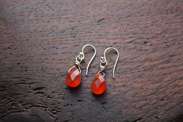 Silver Wire Wrapped Faceted Carnelian Briolette Drop Earrings