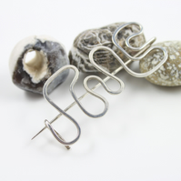 Hammered Silver Abstract Brooch