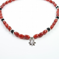 Silver Shell, Red Agate and Black Crystal Necklace