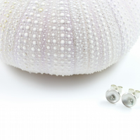 Tiny Silver Domed Disc Stud Earrings With Granulation