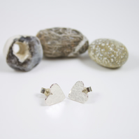 Hammered Silver Heart Stud Earrings