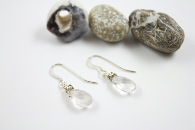 Silver Wire Wrapped Clear Quartz Briolette Drop Earrings