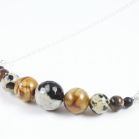 Sterling Siver Wire Wrapped 'Safari' Gemstone Bead Necklace