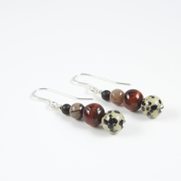 'Safari' Gemstone Wire Wrapped Sterling Silver Drop Earrings