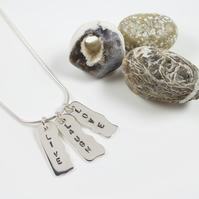 Sterling Silver 'Live Laugh Love' Text Pendant