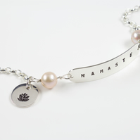 Sterling Silver 'Namaste' Bracelet with Lilac Pearls and Lotus Flower Charm