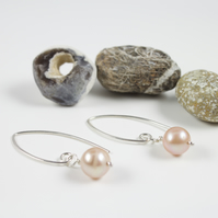 Sterling Silver Lilac Pearl Drop Earrings