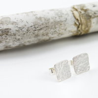 Silver Hammered Square Stud Earrings
