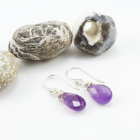 Sterling Silver Wire Wrapped Amethyst Briolette Drop Earrings