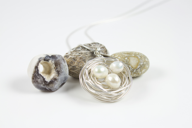 Sterling Silver Nest Pendant with White Freshwater Baroque Pearl Eggs