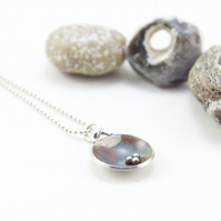 Silver Oxidised Domed Disc Pendant with Granulation