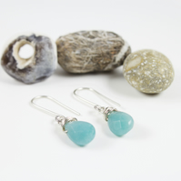 Silver Wire Wrapped Faceted Amazonite Briolette Drop Earrings