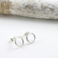 Handmade Silver Textured Circle Stud Earrings