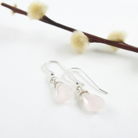 Silver Wire Wrapped Faceted Rose Quartz Briolette Drop Earrings