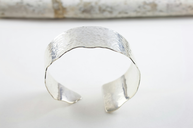 Handmade Sterling Silver Textured Wide Cuff Bangle