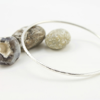 Handmade Silver Hammered Stacking Bangle