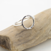 Sterling Silver Hammered Open Circle Ring