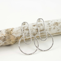 Sterling Silver Hammered Texture Oval and Circle Stud Earrings
