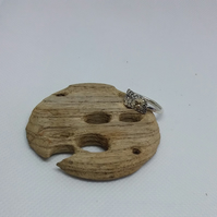 Sterling silver and recycled gold ring size O handmade in Scotland free uk post