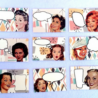 Fifties women card toppers 50's tags retro vintage style 50's fun birthday snail