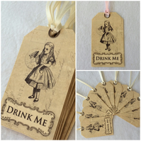 Alice In Wonderland vintage style gift tags - set of 10 - Drink Me