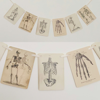 Halloween Skeleton Garland Decoration Vintage Style Spooky Bones Bunting