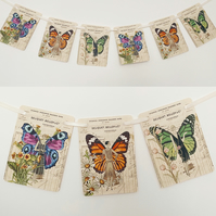 Butterfly Lady Garland Decoration Vintage Style Flower Pastel Bunting Art Deco