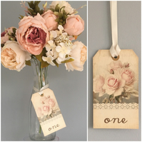 WEDDING table number tags with ribbon rose design shabby chic