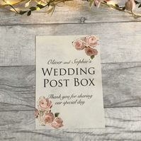 Wedding Post Box Sign Pink Vintage Style Personalised Personalized Custom