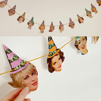 Party Hat Fifties Girls Ladies Garland Bunting Retro Birthday Bachelorette Hen D