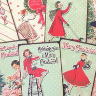 Christmas card toppers vintage retro ladies for scrapbooking tags and craft proj