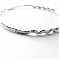 Ripples in the sand solid sterling silver bangle