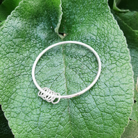 Heavy Sterling Silver Hammered Bangle with circles