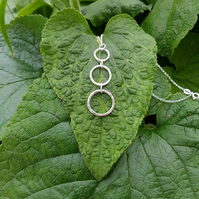3 Circles Sterling Silver Necklace- hammered texture